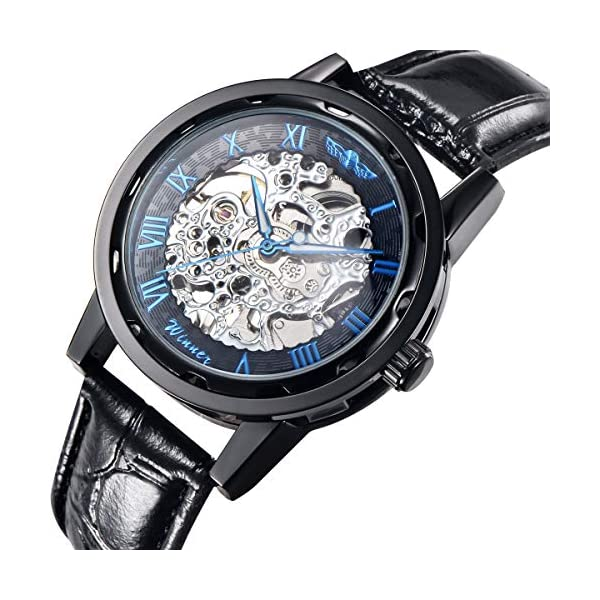Gute Classic Steampunk Bling Automatic Mechanical Wristwatch See Through Skeleton Automatic Unisex Watch (Blue-Black) 3