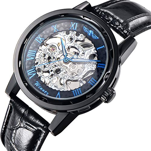 GuTe Classic Steampunk Blue Roman Mechanical Wrist Watch Skeleton Black Case/Strap