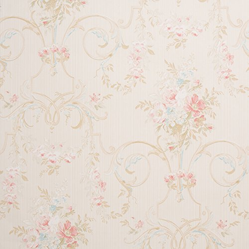 Cottage Floral Tan Shabby Chic Wallpaper for Walls - Double Roll - Romosa Wallcoverings LL7542