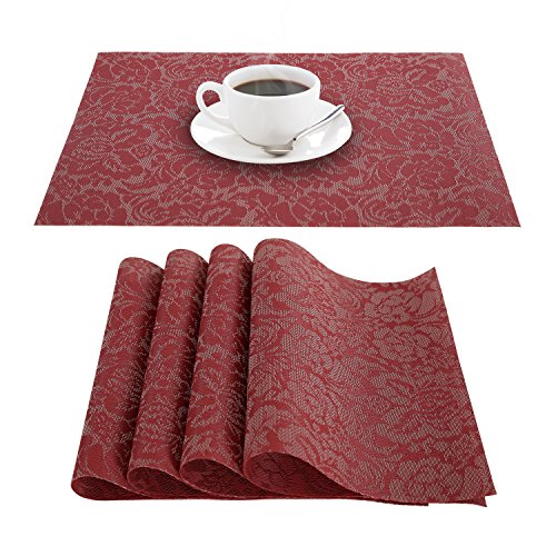 Deconovo Anti-skid Placemat PVC Floral Non-slip Placemats Washable Vinyl Table Mats for Pots and Pans12x18 Inch Red Set of 4