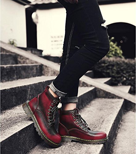 Women's Leather Jackdaine Fashion Plus New Casual High Boots Martin Plus Red Velvet Velvet Boots aT64Tq