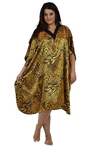 - Up2date Fashion Women Satin Short CaftansOneSizeBlack&GoldAnimal