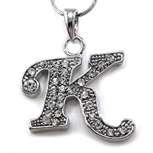 Amazon.com: Initial Letter K Pendant Necklace Charm Ladies ...
