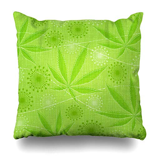 DIYCow Throw Pillow Covers Medicine Green 420 Abstract Retro Cannabis Marijuana Leaf Light Pattern Nature Euphoria Friendly Home Decor Pillowcase Square Size 18 x 18 Inches Zippered Cushion Case