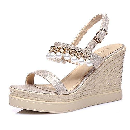 Sandals ZHIRONG Fashion Women's High Heel Summer Open Toe Waterproof Platform Pearl Wedges Bohemia Thick Bottom Beach Shoes 9CM (Color : Green, Size : EU36/UK3.5/CN35) Beige