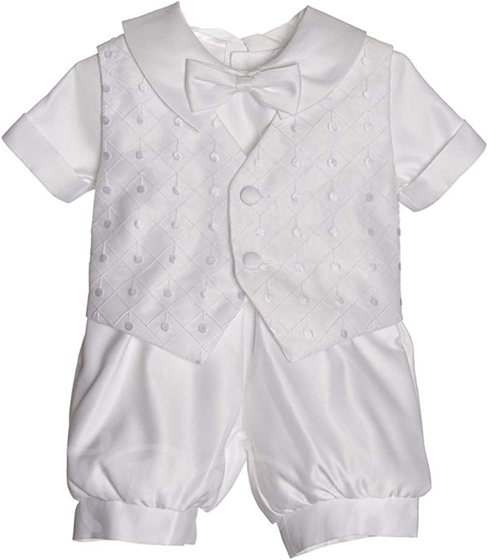 Faithclover Long Christening Outfit Boys Baptism Formal Set Coat Hat
