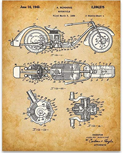 (Adolph Ronning Chopper Patent - 11x14 Unframed Patent Print - Great Garage Decor or Gift Under $15 for Motorcycle Enthusiasts)