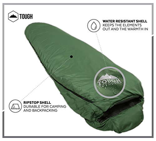 "Mummy Sleeping Bag with Compression Sack - Winter Sleeping Bag for Camping, Hiking, Backpacking & Travel - Waterproof, Compact and Ultralight Cold Weather Sleeping Sack for Adults up to 6'6 2 REST ASSURED. Immerse in a multitude of stars in the night sky! Then rest where you hear nothing but the winter wind. Now that's a 5 (billion or more!) star accommodation. Finally, get lost in a warmth that will leave you sleeping way past your alarm clock. Be warned though, the snooze button will be ignored with this sleeping bag... and waking up at lunch. FIT FOR A KING. Pharaohs boast of grand things. Look no further than the pyramids. Don't believe us? Let's not forget those big and tall coffins they fill when Osiris calls them. However, with this mummy sleeping bag, you get 6'6 ""fit for a king"" size. *Ceremonial wrapping cloth not included, of course*. Go ahead, sleep (and wake up) like royalty. YOU'VE BEEN ""WARMED"". This bag is perfect for summer camping with a temperature rating of 60F+."