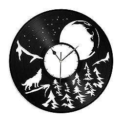 VinylShopUS - Moon and Wolf Vinyl Wall Clock Snack Bar Decor Movie Record Kids Room Home Decoration