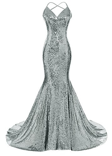 DYS Women's Sequins Mermaid Prom Dress Spaghetti Straps V Neck Backless Gowns Iron Green Custom Size]()