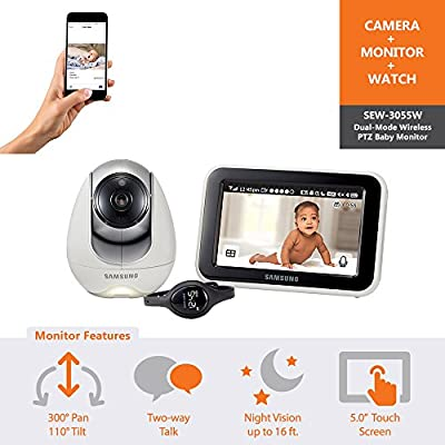 Samsung Wisenet BabyView Monitor (SEW-3055W) w/ Wi-Fi Remote Viewing from Hanwha Techwin America