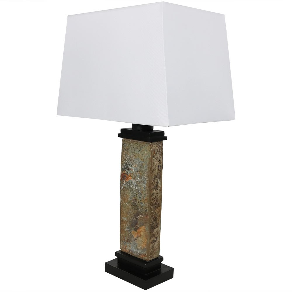 Sunnydaze Indoor/Outdoor Thin Natural Slate Table Lamp, 26 Inch
