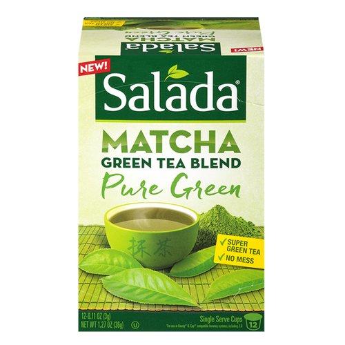 Salada Matcha Green Tea Blend - Pure Super Green Tea - 1 Box with 12 Single Serve Cups