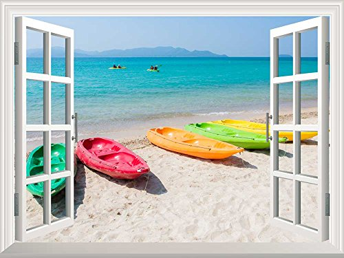 Removable Wall Sticker Wall Mural Colorful Boats on the Beach with White Sand Creative Window View Wall Decor
