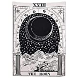 YAYALE Tarot Tapestry The Moon The Star The Sun Tapestry Medieval Europe Divination Tapestry Wall Hanging Tapestries Mysterious Wall Tapestry Home Decor Bedding Tapestry (51''×59'', The Moon)