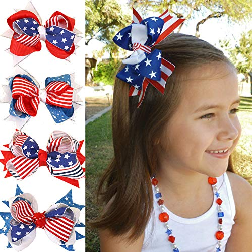 4 Pcs/Pack Baby Girls American Flag Hair Bow Hair Clips Fourth of July American Independence Day Hair Accessories Women Teenage Girl Kids Patriotic Hair Bows Hairgrips -