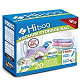 Hibag Premium Space Saver Bags, 20 Pack Vacuum Compression Bags (2Small, 6Medium, 5Large, 5Jumbo, 2Jumbo+) with 2 Free Roll Up Bags no Vacuum Needed and 1 Free Hand-Pump