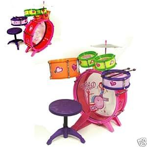 girls kids drum set kit toy children musical instrument toys games. Black Bedroom Furniture Sets. Home Design Ideas