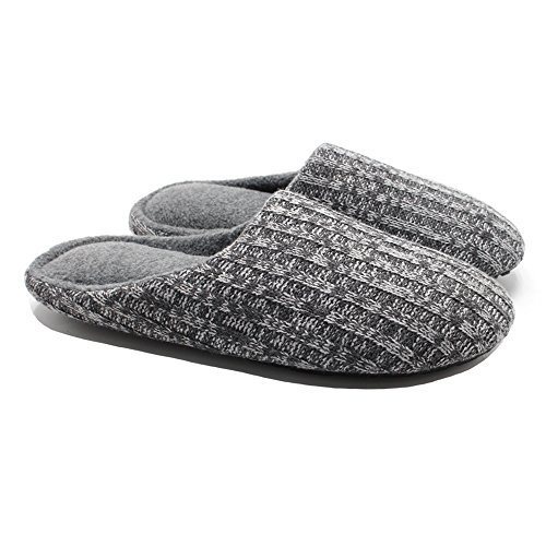Ofoot slippers polar fleece lined cable knit cashmere mens womens slippers indoor shoes memory foam anti-slip TPR outsole (Large / 8.5-9.5 B(M) US, Dark Grey)