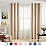 Maevis 99% Blackout Curtains 2 Panels for Bedroom Grommet Top,Light Blocking Draperies Room Darkening Thermal Insulated Window Curtain for Living Room(W52xL84 inch,Beige)