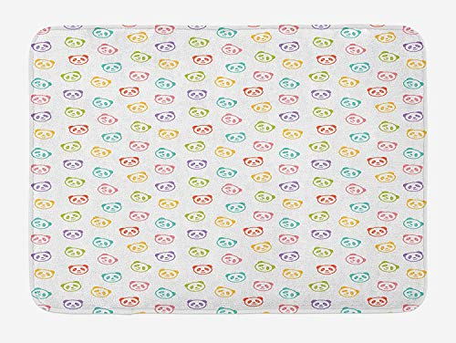 (Emiqlandg Baby Bath Mat, Funny Panda Bears Colorful Cute Animals Cheerful Smile Wild Kids Nursery Baby Concept, Plush Bathroom Decor Mat with Non Slip Backing, 23.6 W X 15.7 W Inches, Multicolor)