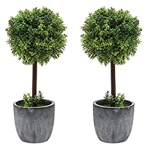 MyGift Set of 2 Small Realistic Artificial Boxwood Topiary Trees/Faux Tabletop Plants w/Gray Ceramic Pots 13