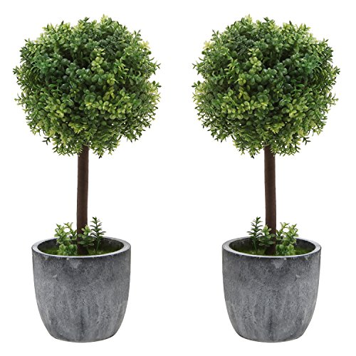 Set of 2 Small Realistic Artificial Boxwood Topiary Trees / Faux Tabletop Plants w/ Gray Ceramic Pots (Trees For Patios Small Potted)