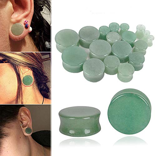Ear Expander Ear Piercing 1 Pair of Opalite Stone Ear Plugs Tunnels Gauges Expander Body Piercing Jewelry,Green,6mm