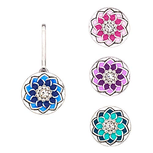 Ascrafter Rhinestones Flower Zipper Pulls for Jacket, Purses, Backpack, Jewellery Pendant, 4 Button Holders & 4 Replacement snap ()