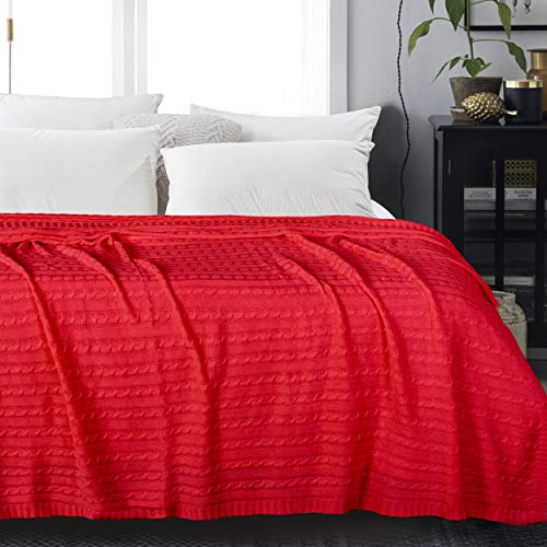 NTBAY Cotton Cable Knit Twin Blanket, Super Soft Warm Multi Color Bed Blanket, 68x90 Inches, Red