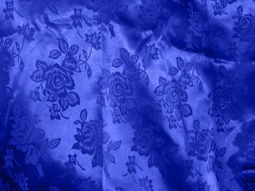 1 X Brocade Jacquard Satin Royal Blue 60 Inches Wide Fabric By the Yard from The Fabric Exchange