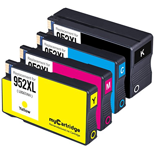 myCartridge 952XL Remanufactured HP 952XL 952 XL Ink Cartridge (1 Black,1 Cyan,1 Magenta,1 Yellow, 4-Pack)Compatible with HP Officejet Pro 8210 8710 8720 Series Printer