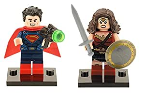LEGO Compatible DC Comics Superman and Wonder Woman Custom Made Minifigures Set With Sword, Shield, Green Ray Gun, and Mini Figure Stands Building Blocks (Superman and Wonder Woman)