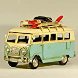 EliteTreasures Retro Metal Collectible Light Blue VW Camper Van Model - 10'' VW Camper Figurine - Surf Beach Van Model - Metal Classic Van Tabletop Ornament Figurine