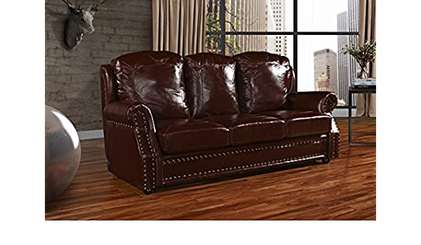 Leather Match Sofa 3 Seater, Living Room Couch with Nailhead Trim (Dark  Brown)