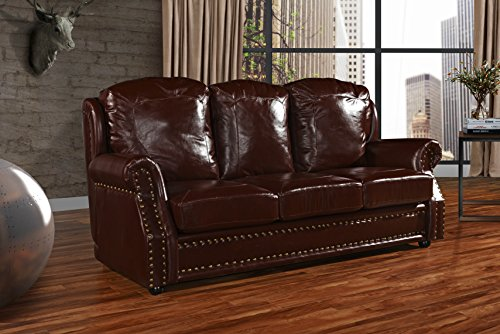(Leather Match Sofa 3 Seater, Living Room Couch with Nailhead Trim (Dark Brown) )