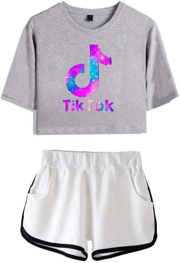 Les Filles Enfants Crop Top TIK Tok T-Shirt Shorts Chemise Sport Pantalons Tenues Casual Set