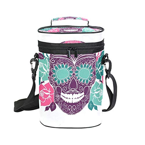 Wine Totes Travel Carrier Cooler Bag with Shoulder Strap Flower Skull 2 Bottle Picnic Cooler Bag with Insulated Neoprene Leakproof Liner,Water Drinks Beer Lunch Bag for Grocery,Camping