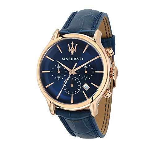 MASERATI Men's 'Epoca' Quartz Stainless Steel and Leather Fashion Watch, Color:Blue (Model: R8871618007)