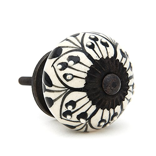 Black Flower Design Drawer Pull, Cabinet Pull, Drawer Knob - Pack of 12