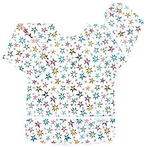 Langsprit Baby Bib with Sleeves-Waterproof Infant/Toddler Bib with Pocket(6-24 Months),Star