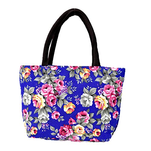 Shopping Small Handbag Bag Women Tote Lalang Canvas Flower Bag Printed Beach Blue 4w8SR0q5