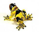 Lampwork COLLECTIBLE MINIATURE HAND BLOWN Art GLASS Sniper Frog, Yellow FIGURINE