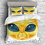 Emoji Double Duvet Cover YOLIYANA Double Size Duvet Cover Set/Emoji,Alien Smiley Face with Big Eyes Creature from Outer Space Nebula Galaxy Image,Yellow and Blue / 3 Piece Bedding Set