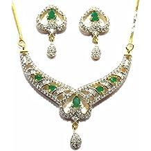 Shingar Jewelry Ksvk Jewels Cubic Zirconia (CZ) Tanmania Pendant Set For Women (9942-psad-green)