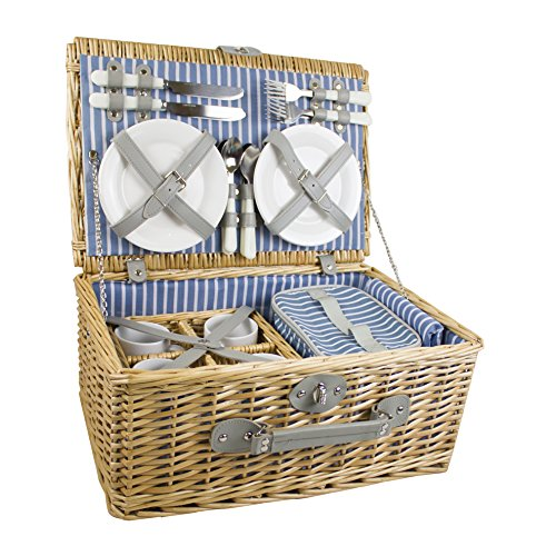 YELLOWSTONE 4 PERSON LUXURY WICKER PICNIC BASKET (NATURAL) (Yellowstone Picnic Basket)