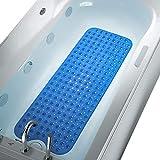 COMUSTER Bathtub and Shower Mats, Extra Long Non-Slip Bath Mat (39' x 16'), Machine Washable Bath Tub Mat for Bathroom (Clear Blue)