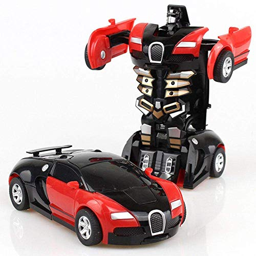 OSAYES Mini Deformation Car Robot, Robot Deformation Car Bugatti Manual Transformer Car Toys Inertial Transformation Robots Toys, 1:32 Bugatti Model Vehicle for Kids