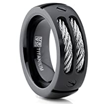 Metal Masters Co.® 8MM Mens Black Titanium Ring Wedding Band with Stainless Steel Cables and Screw Design Sizes 7 to 13
