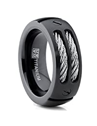 Metal Masters Co.® 8MM Men's Black Titanium Ring Wedding Band with Stainless Steel Cables and Screw Design Sizes 7 to 13